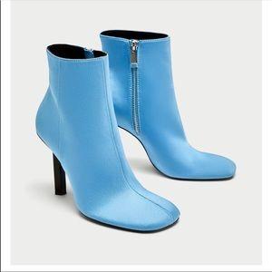 Zara blue satin booties 💕💕💕